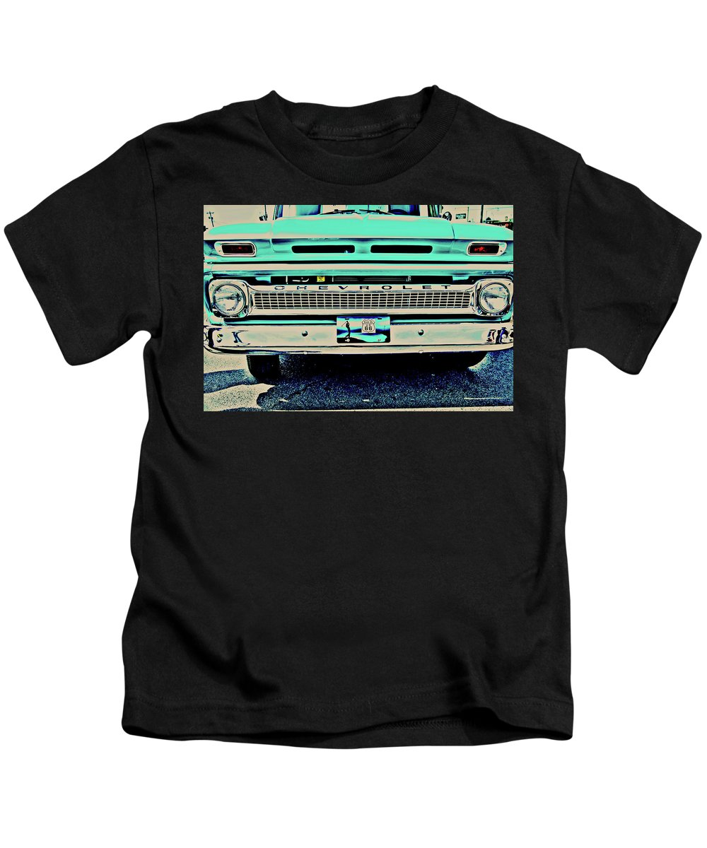Vintage Pickup Kids T-Shirt featuring the photograph Where Route 66 Meets Chisholm Trail by Toni Hopper