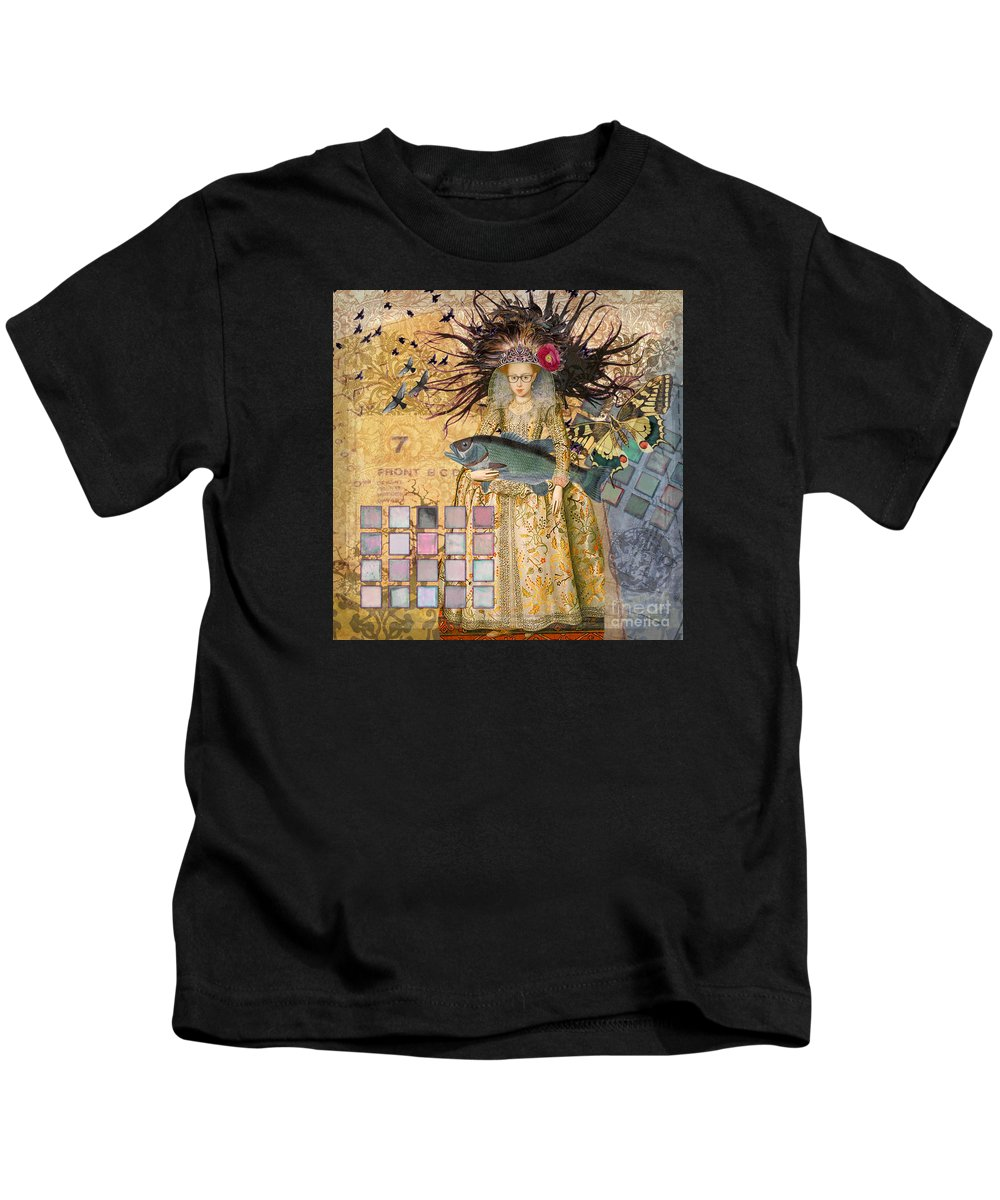 Doodlefly Kids T-Shirt featuring the digital art Whimsical Pisces Woman Renaissance Fishing Gothic by Mary Hubley
