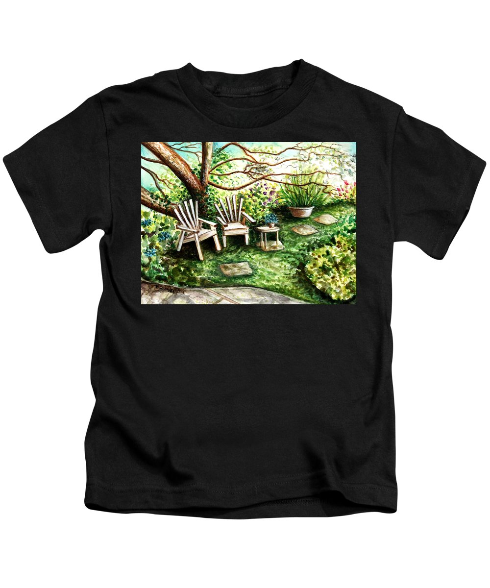 Garden Kids T-Shirt featuring the painting Whispering Winds by Elizabeth Robinette Tyndall