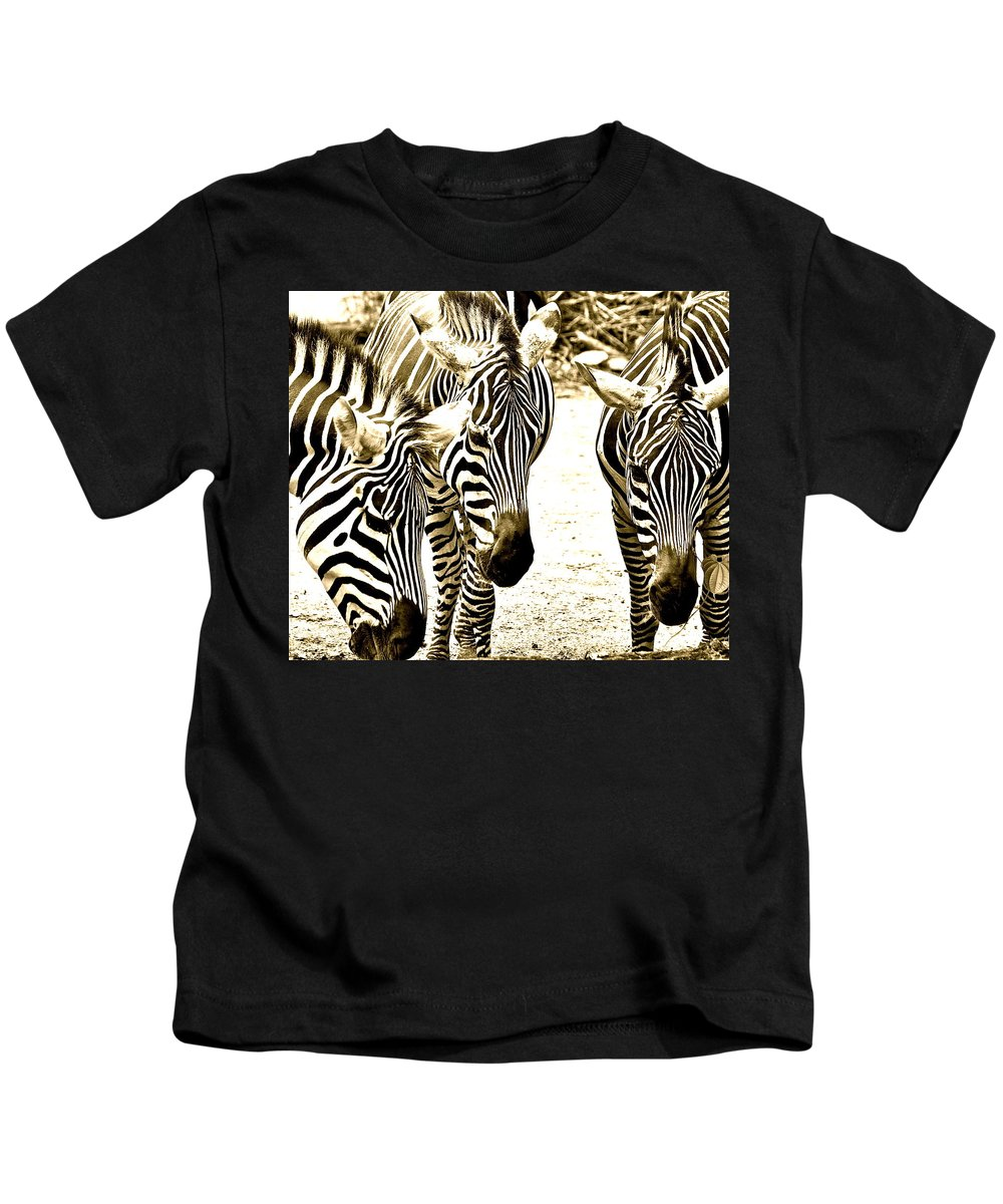 Zebras Kids T-Shirt featuring the photograph Whispering Zebras by Caroline Reyes-Loughrey