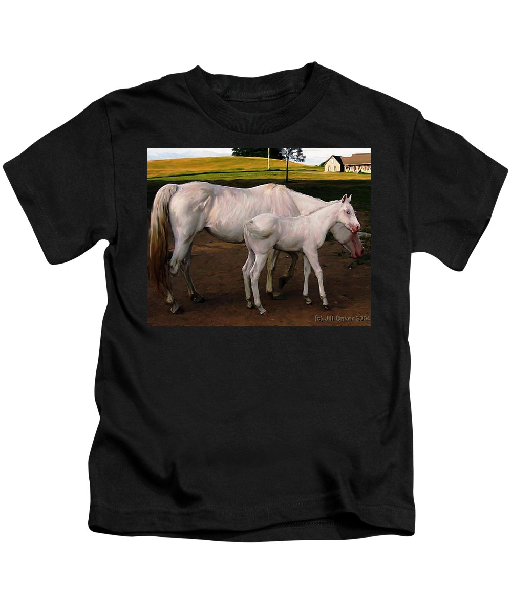 White Horses Kids T-Shirt featuring the painting White Baby Horse by Jill Baker