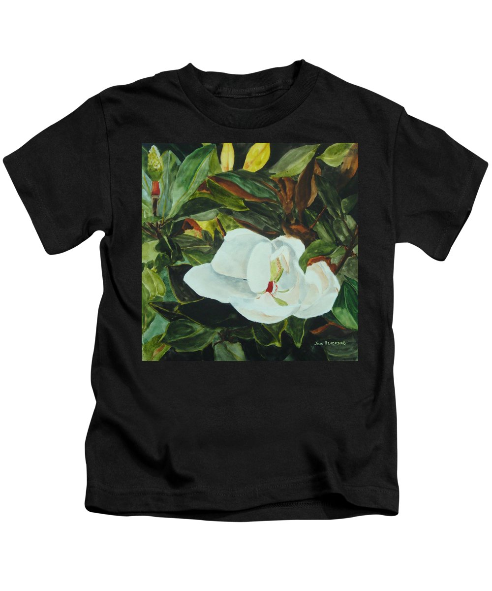 Flower Kids T-Shirt featuring the painting White Beauty by Jean Blackmer