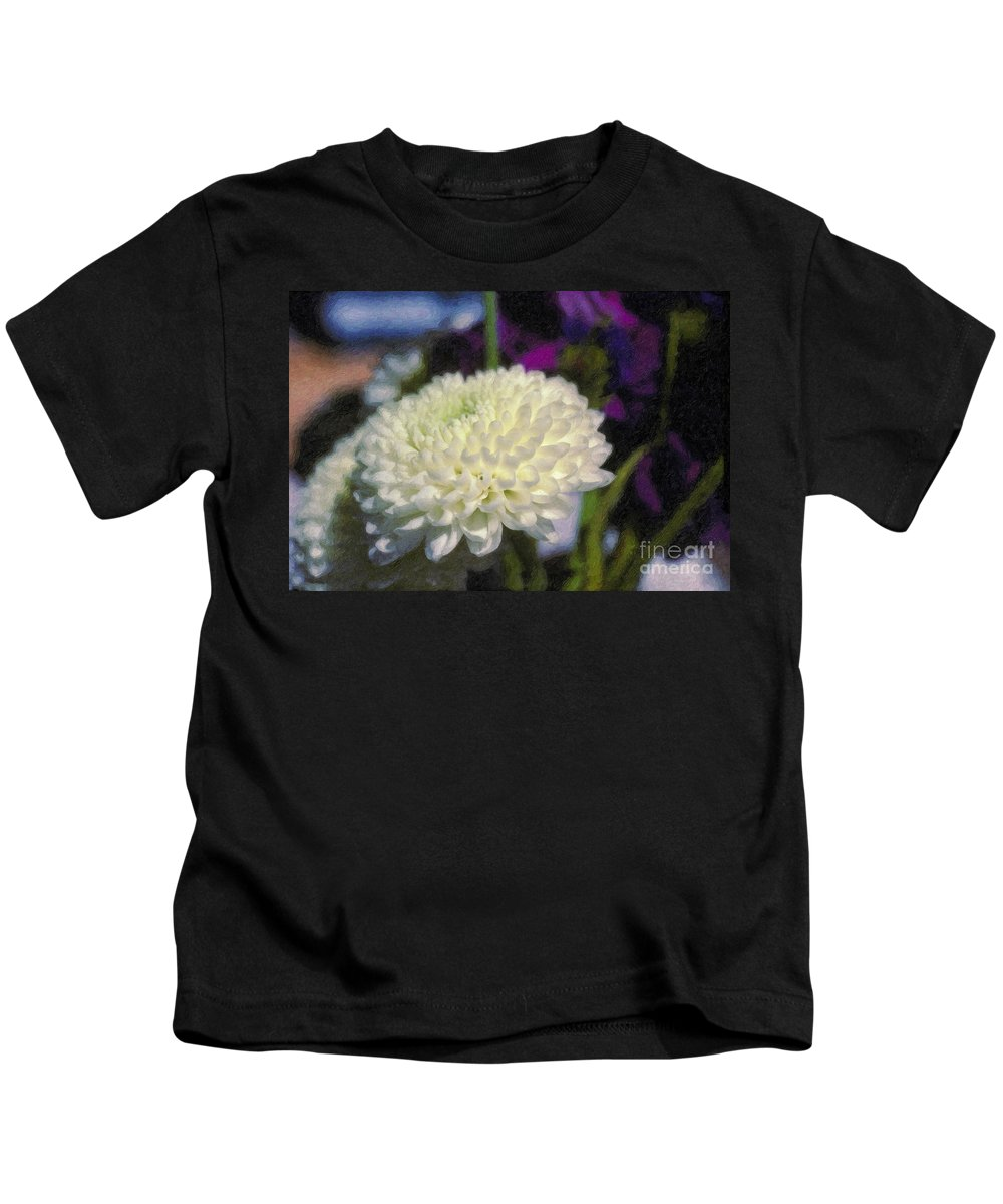 White Chrysanthemum Flower Beautiful Mum Kids T-Shirt featuring the photograph White Chrysanthemum Flower by David Zanzinger