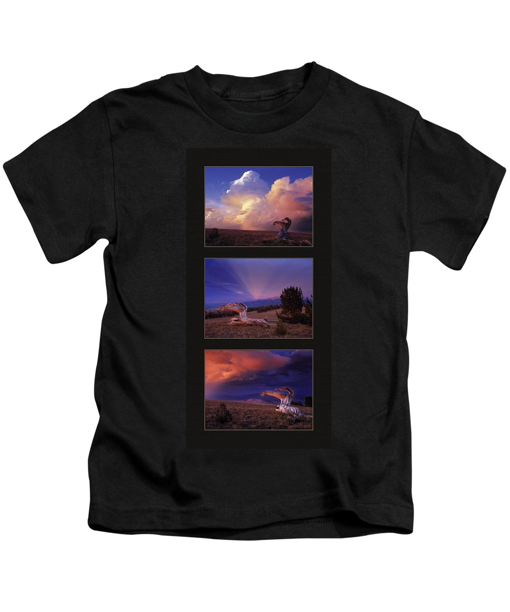 White Clouds Kids T-Shirt featuring the photograph White Clouds Triptych by Leland D Howard