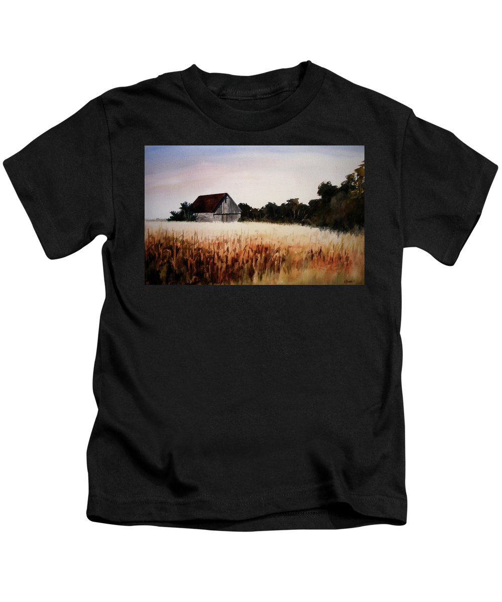 Landscape Kids T-Shirt featuring the painting White For Harvest by Rachel Christine Nowicki