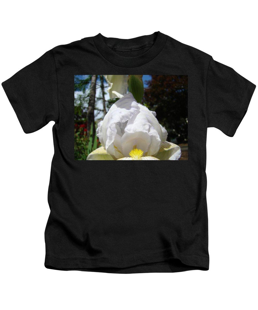 Iris Kids T-Shirt featuring the photograph White Iris Flower Art Prints Canvas Irises Artwork by Baslee Troutman