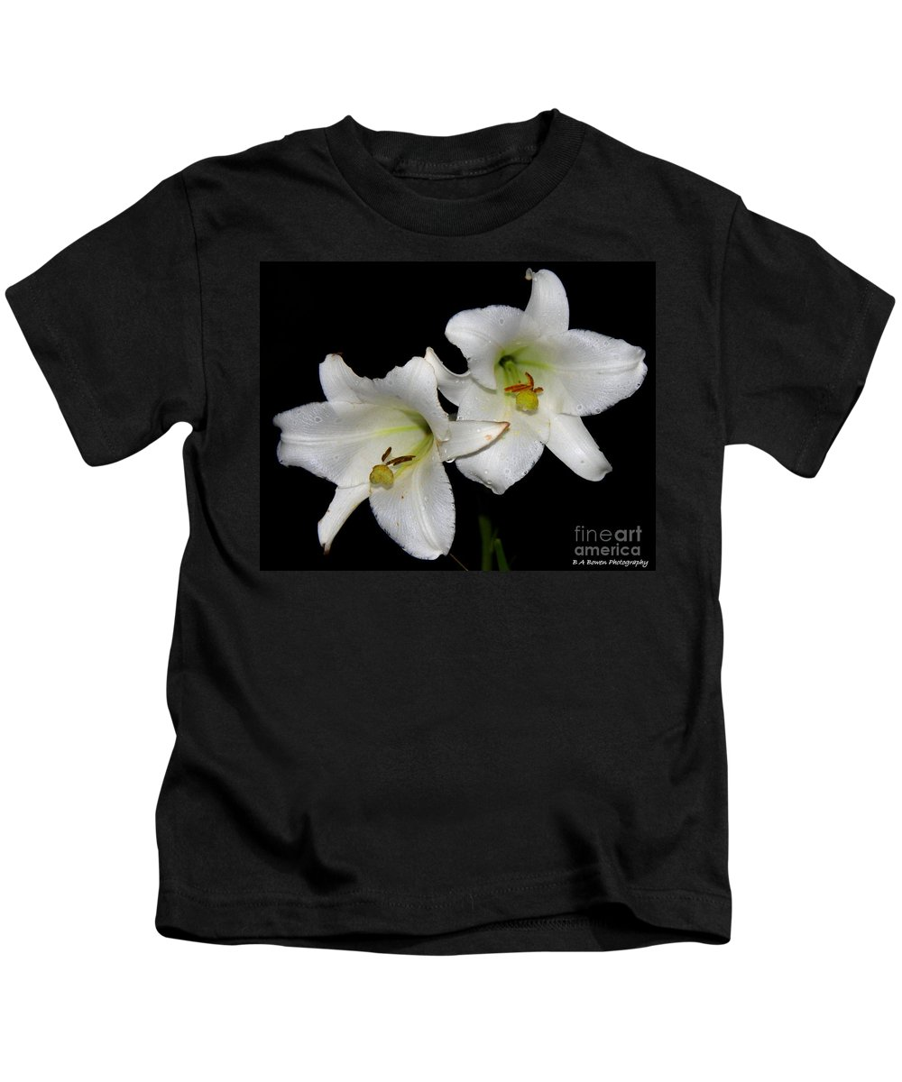 White Lilies Kids T-Shirt featuring the photograph White Lilies by Barbara Bowen