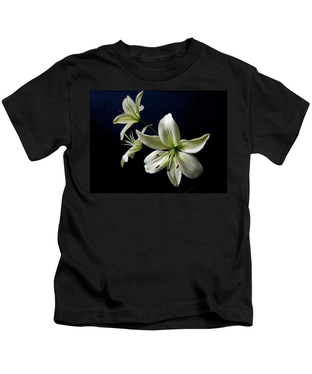 White Lilies Kids T-Shirt featuring the photograph White Lilies On Blue by Sandy Keeton