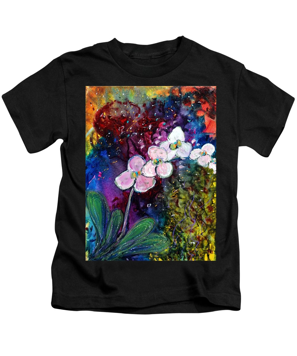 Flowers Kids T-Shirt featuring the painting White Orchid by Luiza Vizoli