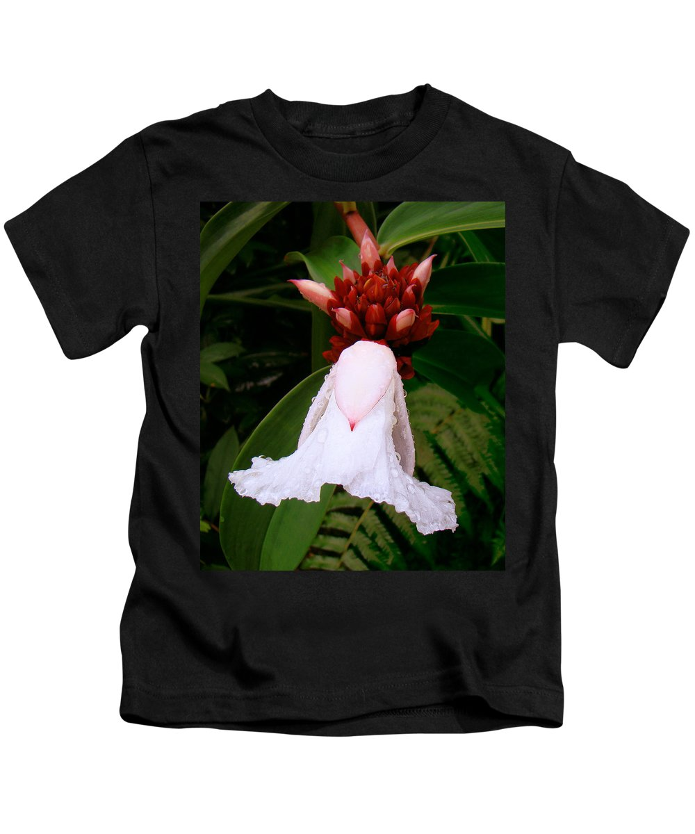 White Flower Kids T-Shirt featuring the photograph White Rainforest Flower by Merja Waters