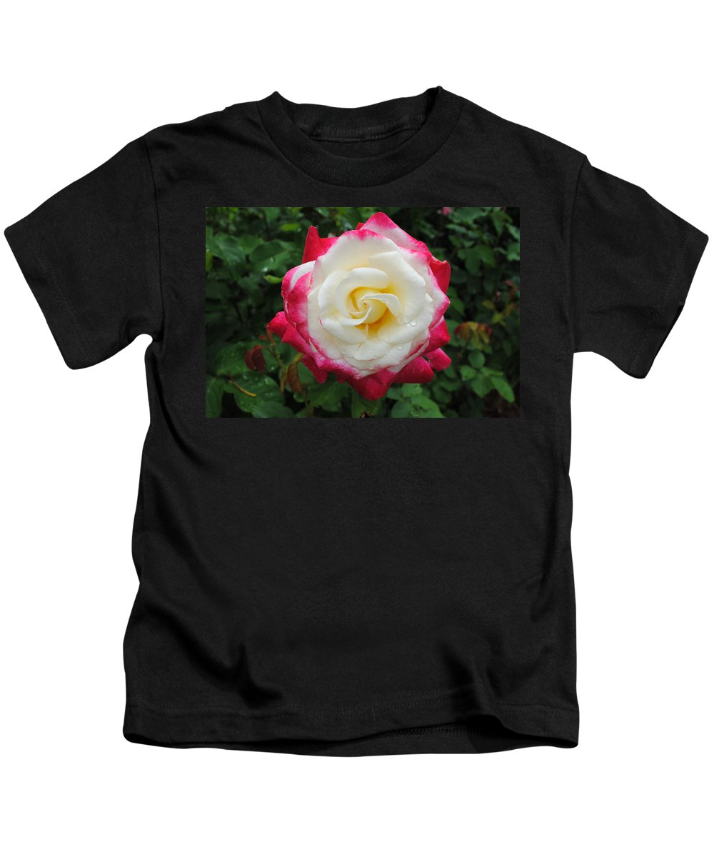 White Kids T-Shirt featuring the photograph White Red Rose by Jost Houk