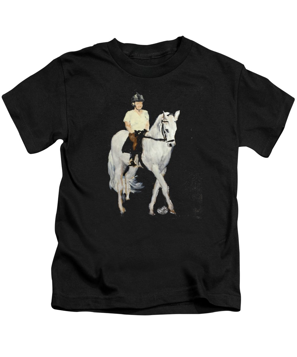 Horse Kids T-Shirt featuring the painting White Ride by Kathy Carothers
