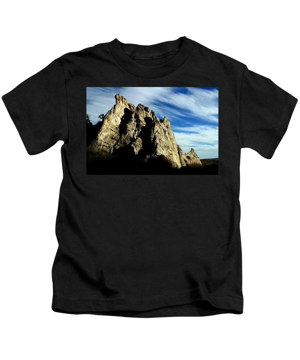 Garden Of The Gods Kids T-Shirt featuring the photograph White Rocks by Anthony Jones