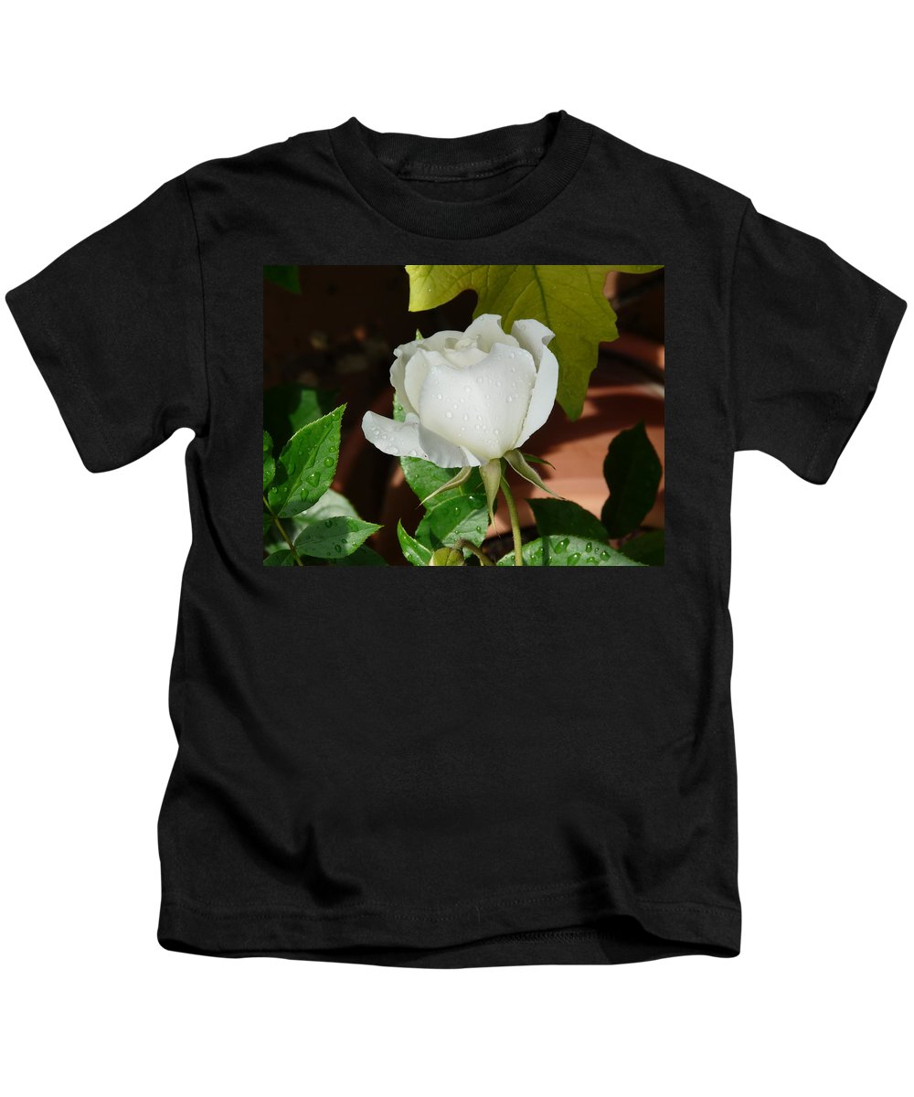 Rose Kids T-Shirt featuring the photograph White Rose After Rain 1 by Valerie Ornstein