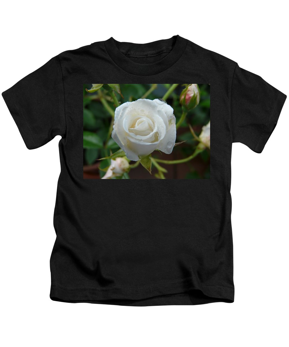 Rose Kids T-Shirt featuring the photograph White Rose After Rain 2 by Valerie Ornstein