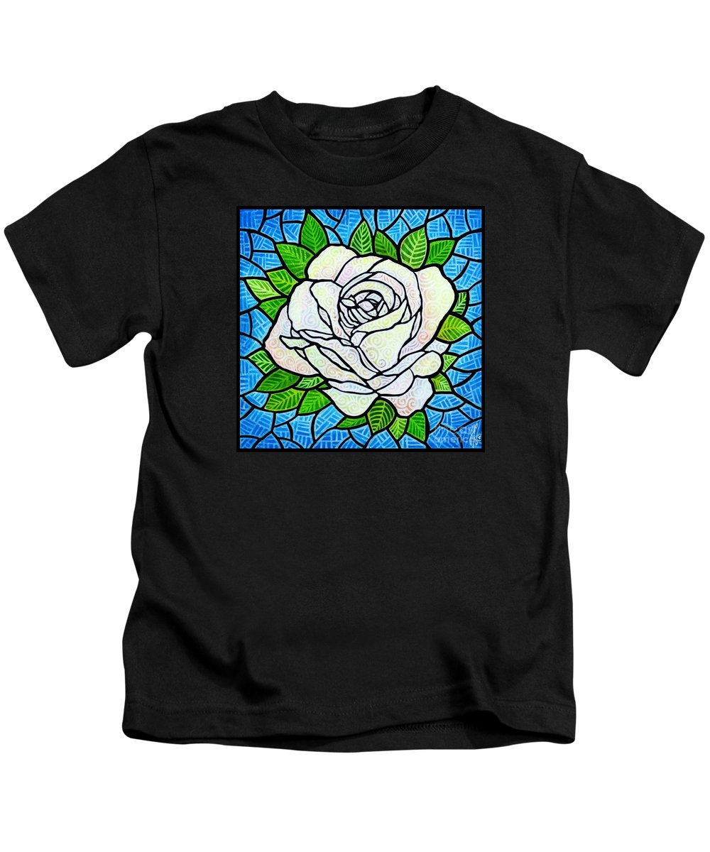 White Kids T-Shirt featuring the painting White Rose by Jim Harris