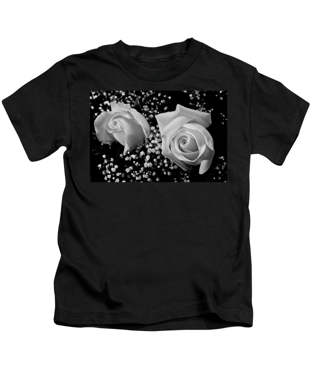 Flowers Kids T-Shirt featuring the photograph White Roses Bw Fine Art Photography Print by James BO Insogna