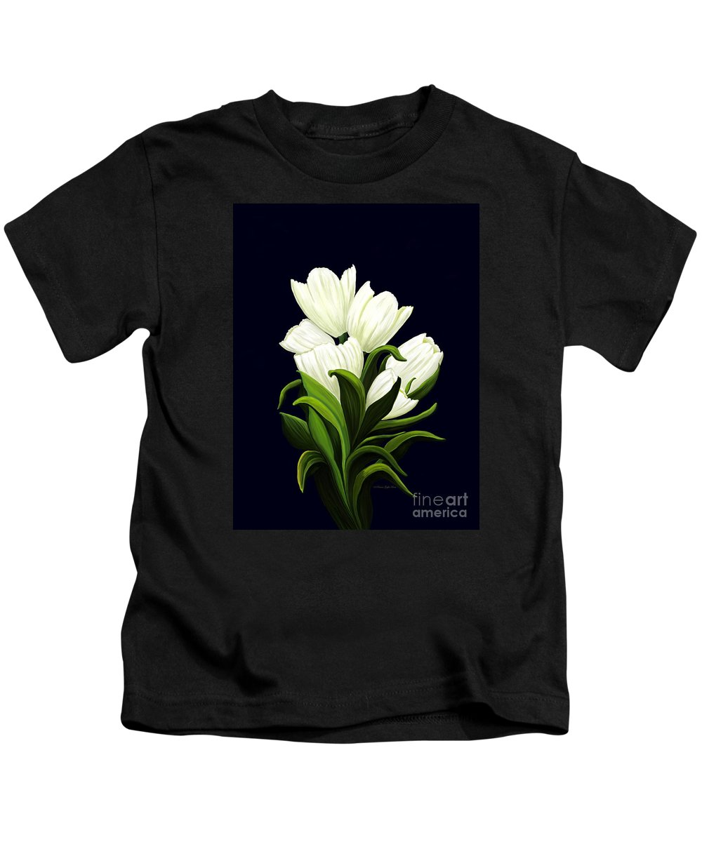 Mixed Media Kids T-Shirt featuring the painting White Tulips by Patricia Griffin Brett