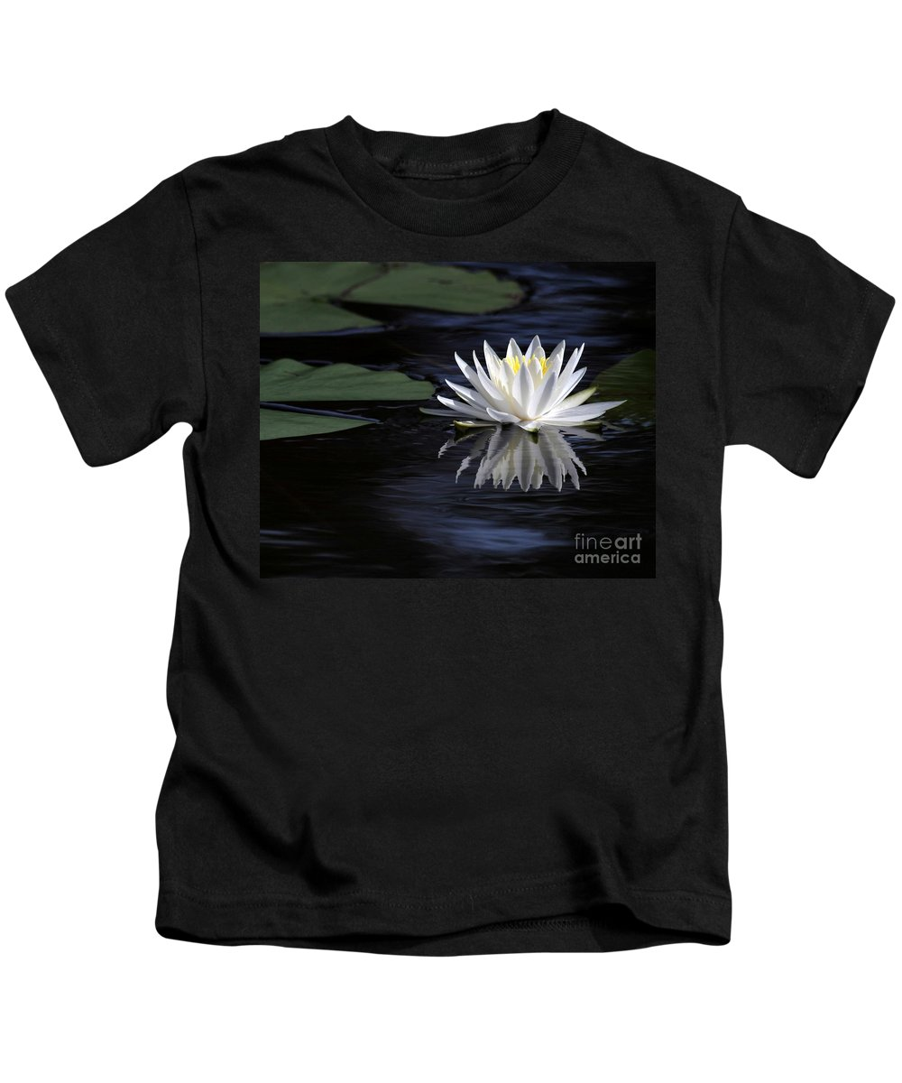 Water Lily Kids T-Shirt featuring the photograph White Water Lily by Sabrina L Ryan