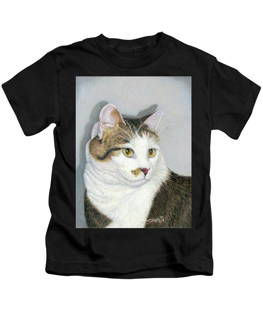 Pet Portraits Kids T-Shirt featuring the drawing Who Me by Beverly Fuqua
