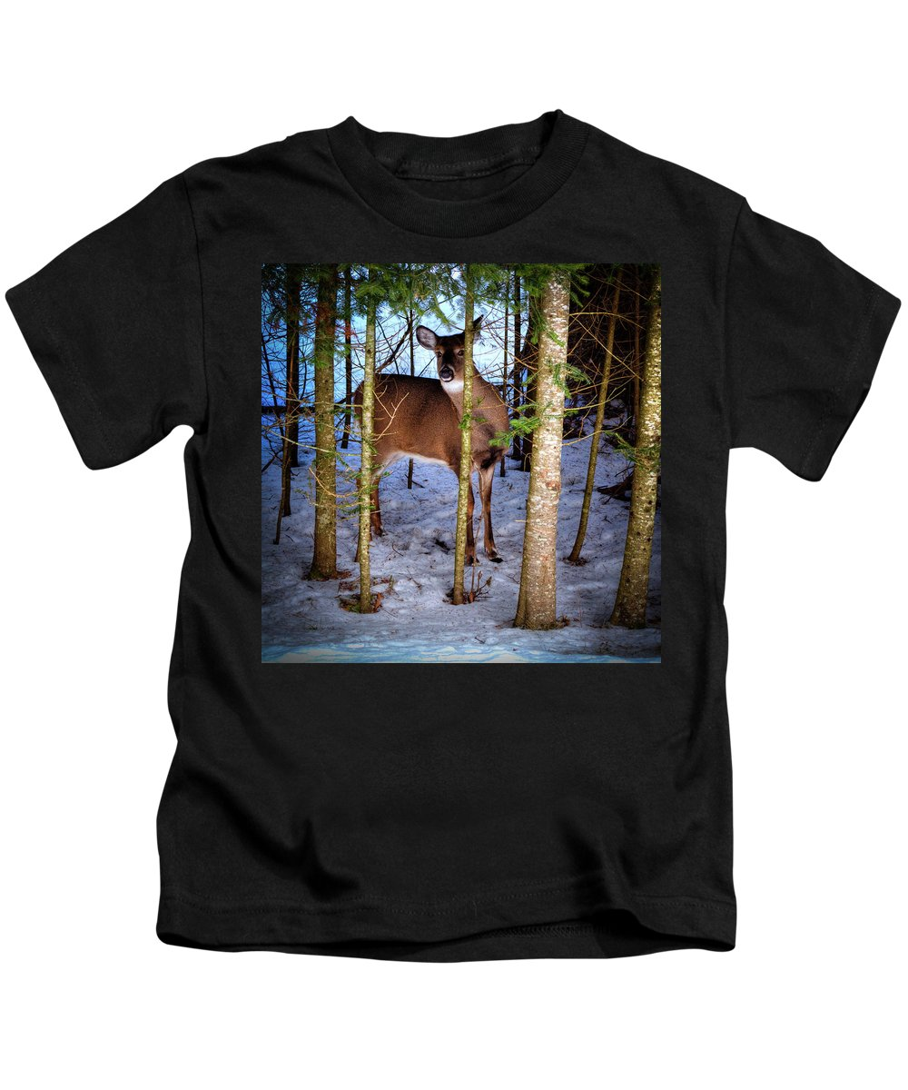 Who's There Kids T-Shirt featuring the photograph Who's There by David Patterson