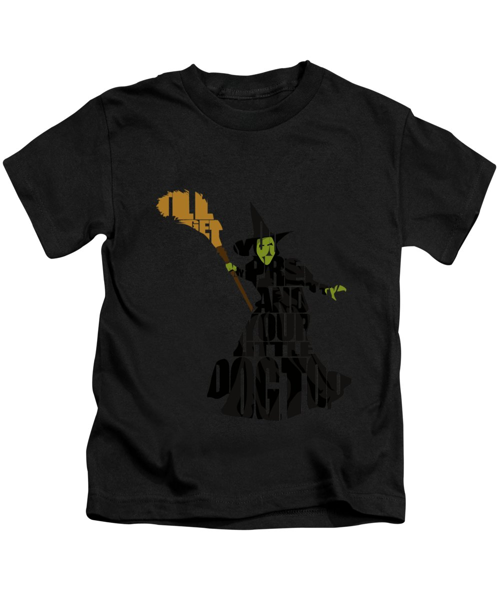 Wicked Witch Of The West Kids T-Shirt featuring the digital art Wicked Witch Of The West by Inspirowl Design