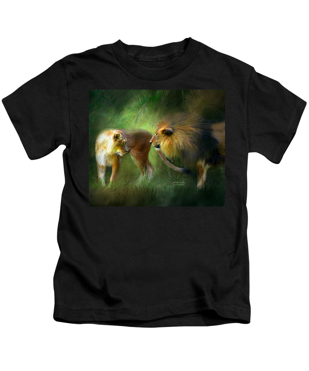 Lion Kids T-Shirt featuring the mixed media Wild Attraction by Carol Cavalaris