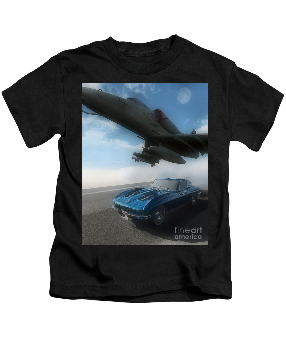 Automotive Kids T-Shirt featuring the digital art Wild Blue by Richard Rizzo