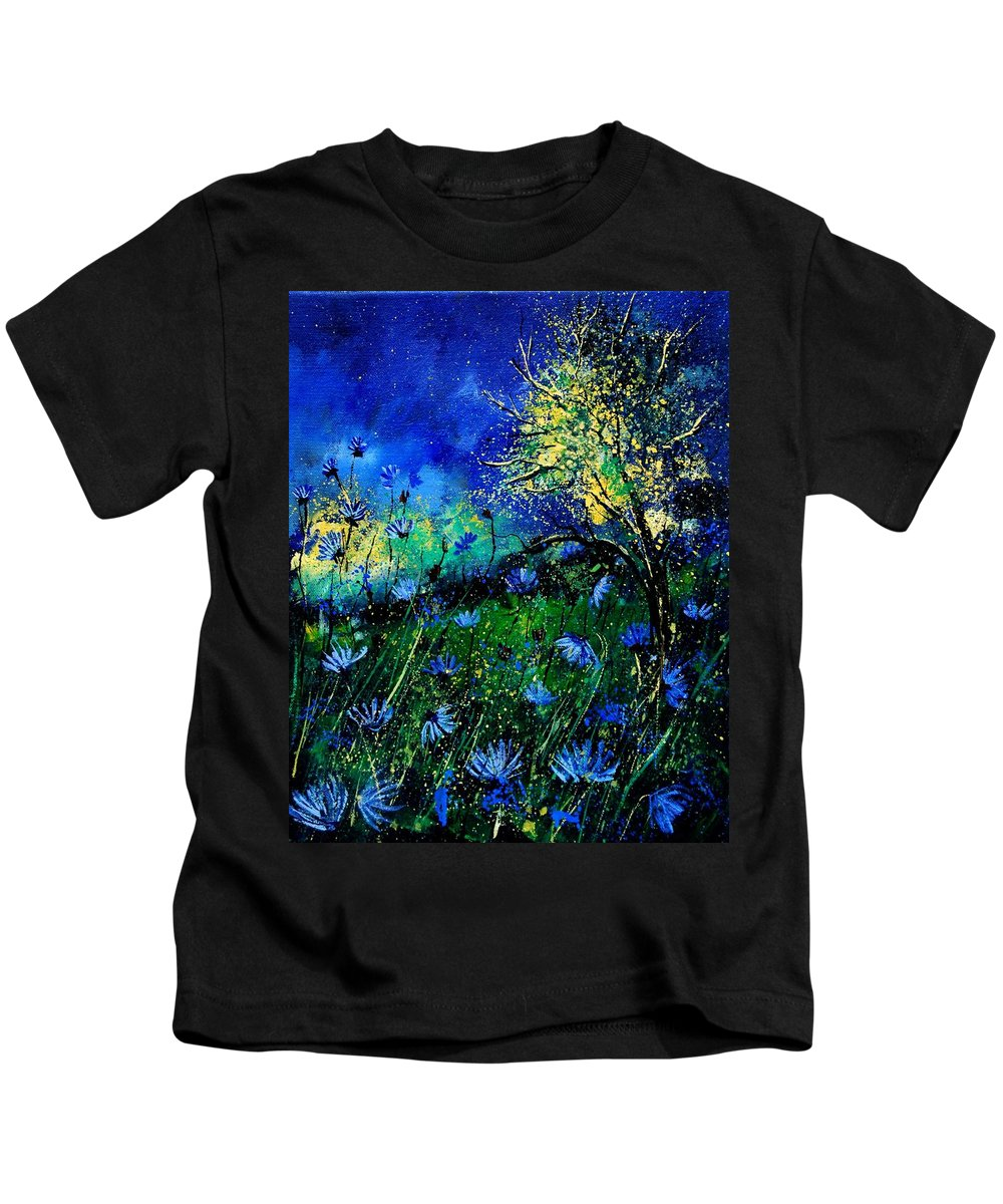Poppies Kids T-Shirt featuring the painting Wild Chocoree by Pol Ledent