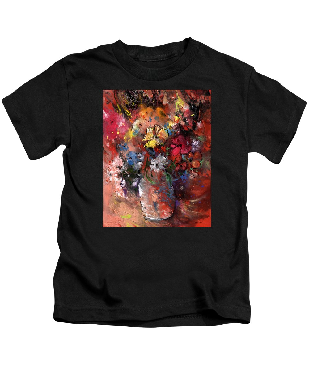 Flowers Kids T-Shirt featuring the painting Wild Flowers Bouquet In A Terracota Vase by Miki De Goodaboom