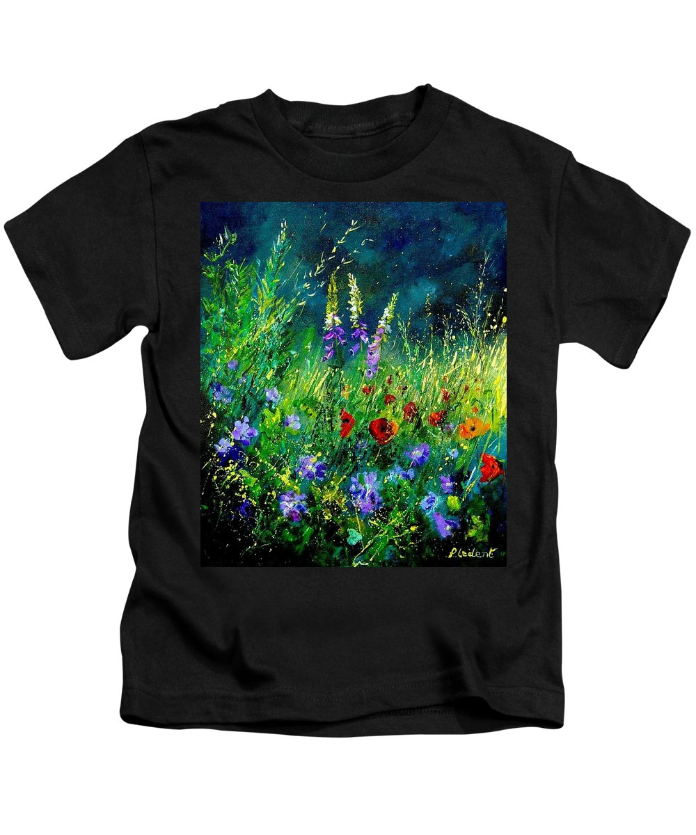 Poppies Kids T-Shirt featuring the painting Wild Flowers by Pol Ledent