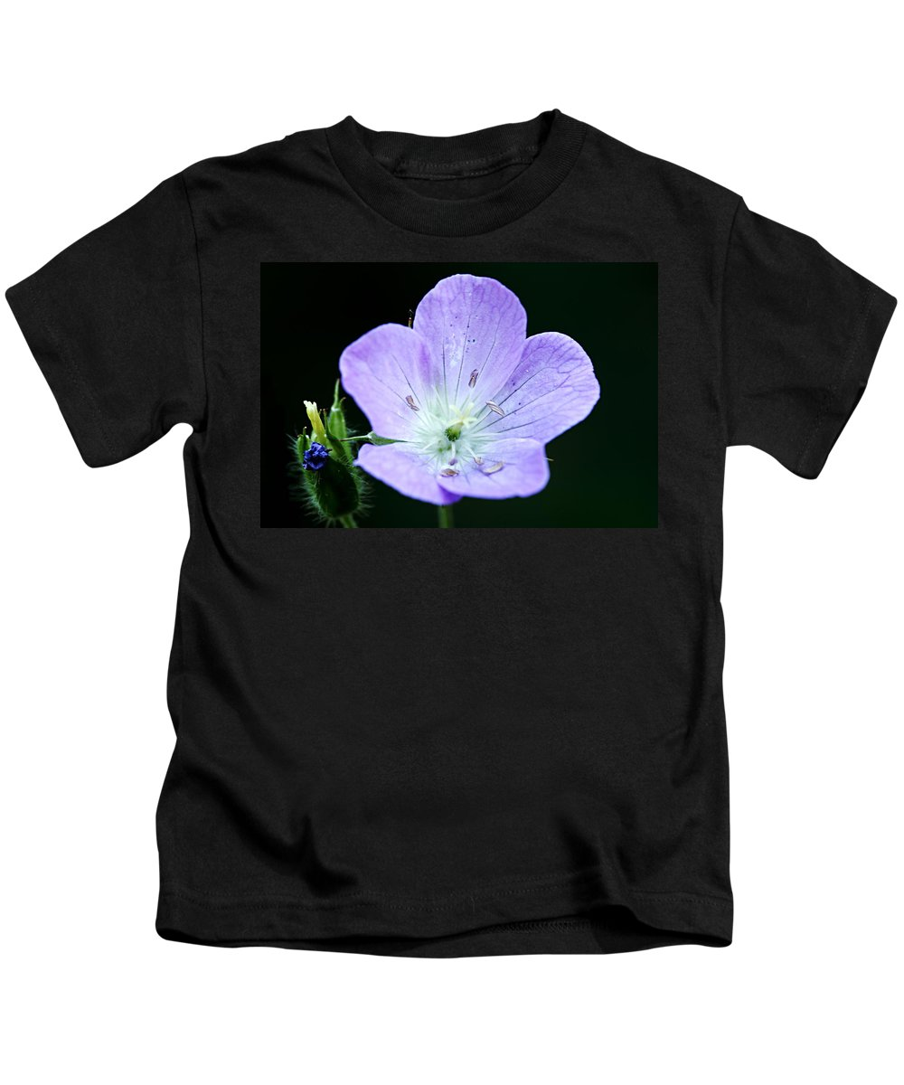 Geranium Kids T-Shirt featuring the photograph Wild Geranium 2 by Larry Ricker