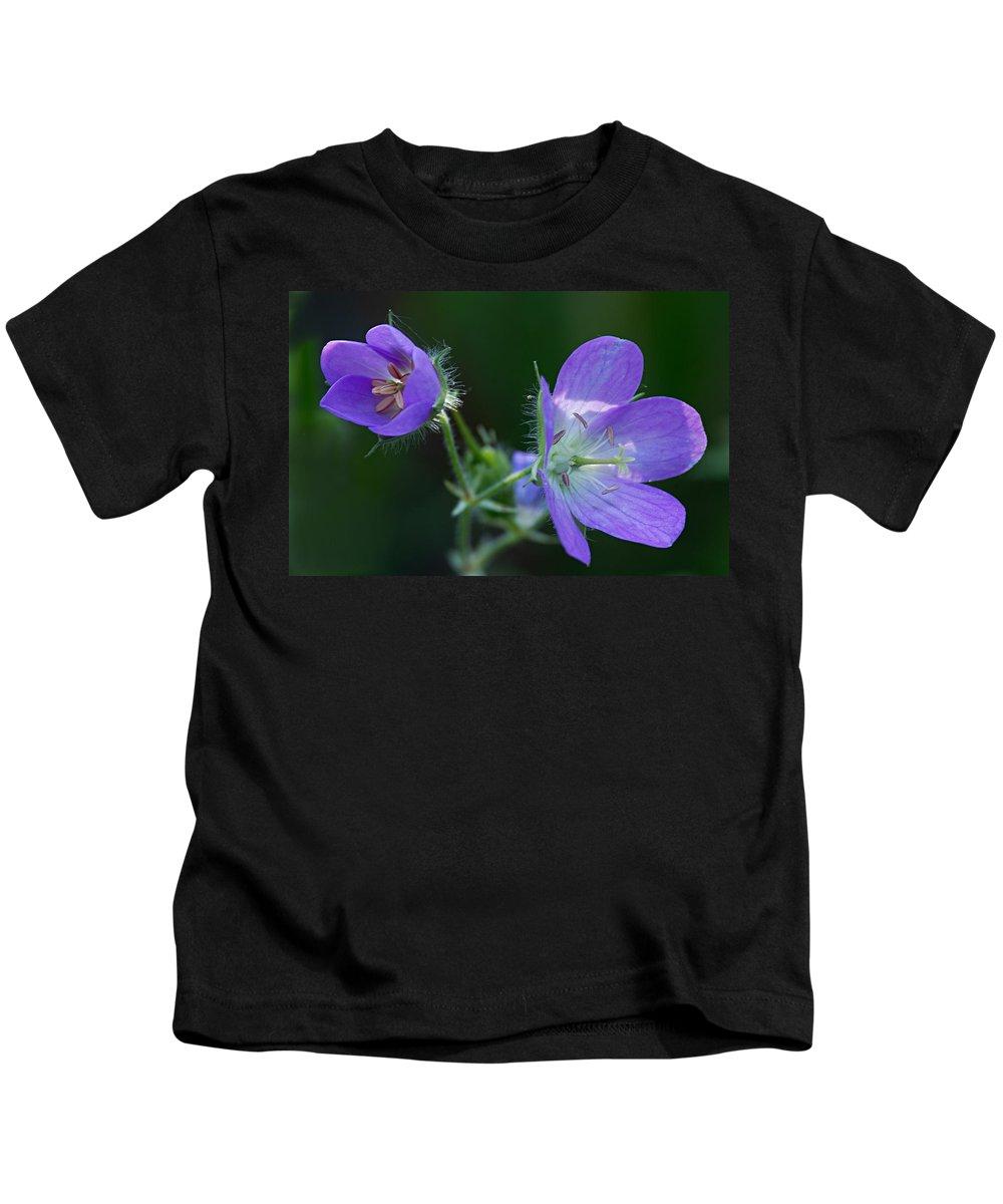 Geranium Kids T-Shirt featuring the photograph Wild Geraniums by Larry Ricker