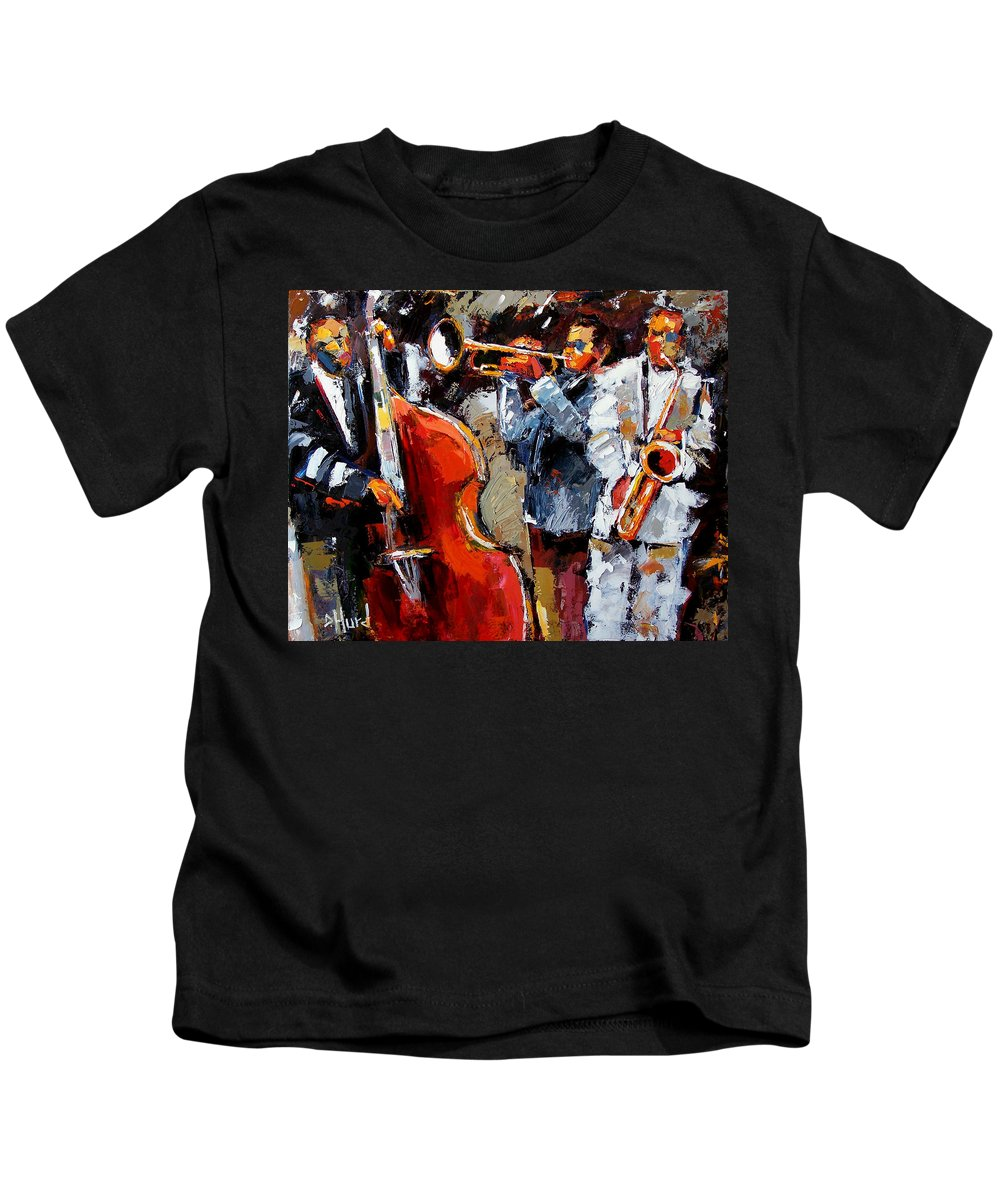 Jazz Kids T-Shirt featuring the painting Wild Jazz by Debra Hurd