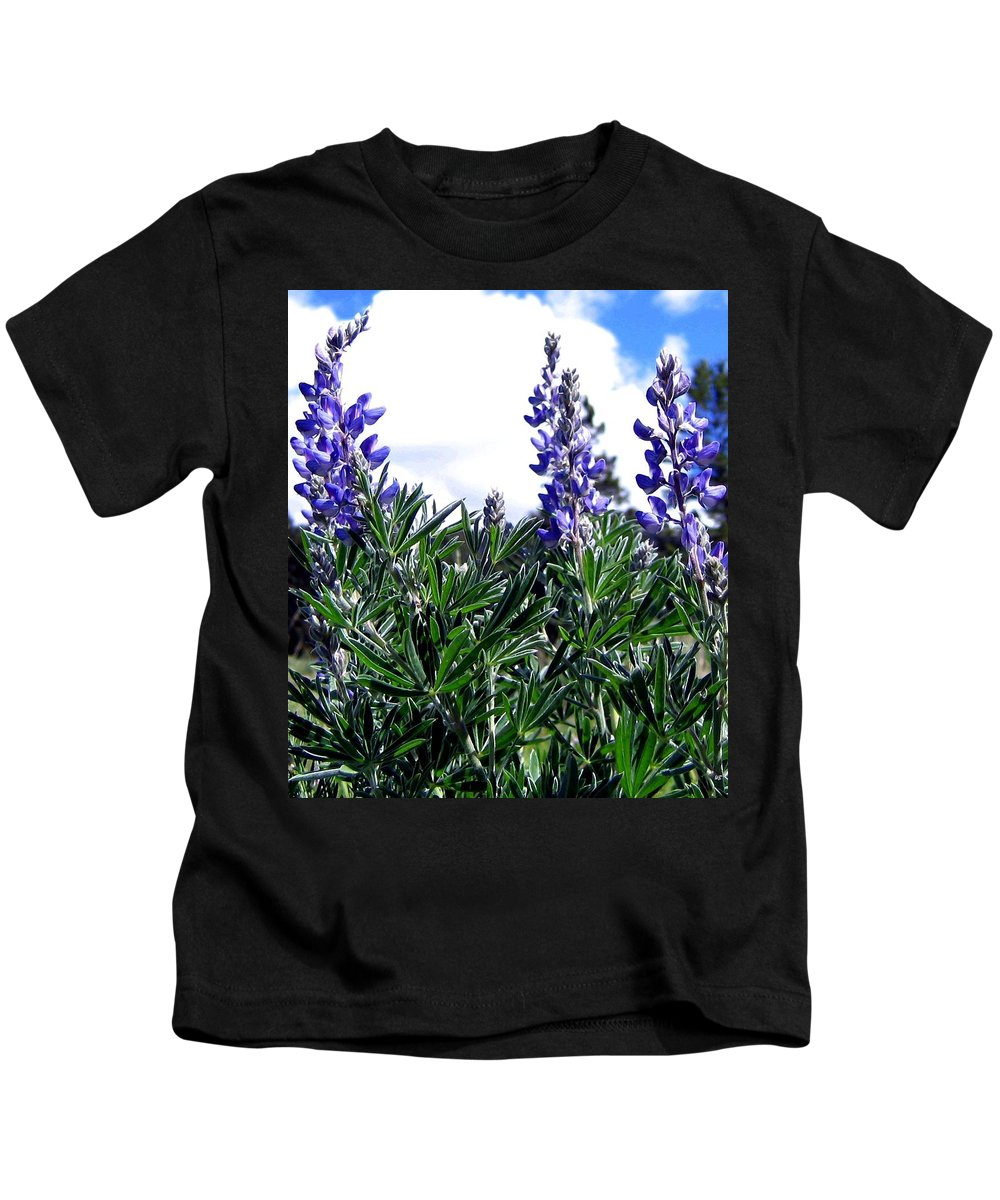 Lupines Kids T-Shirt featuring the photograph Wild Lupines by Will Borden