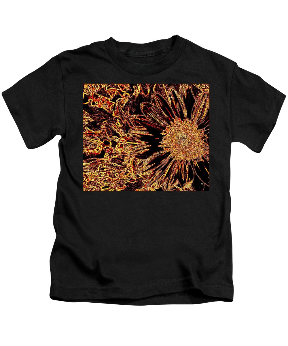Abstract Kids T-Shirt featuring the digital art Wild Sunflower Abstract by Will Borden