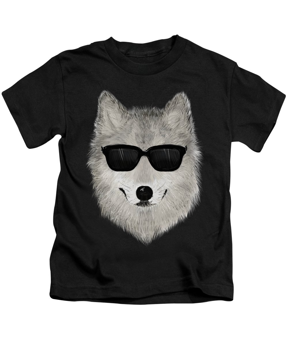 Wild Kids T-Shirt featuring the painting Wild Wolf From 80s - V01 by David Ardil
