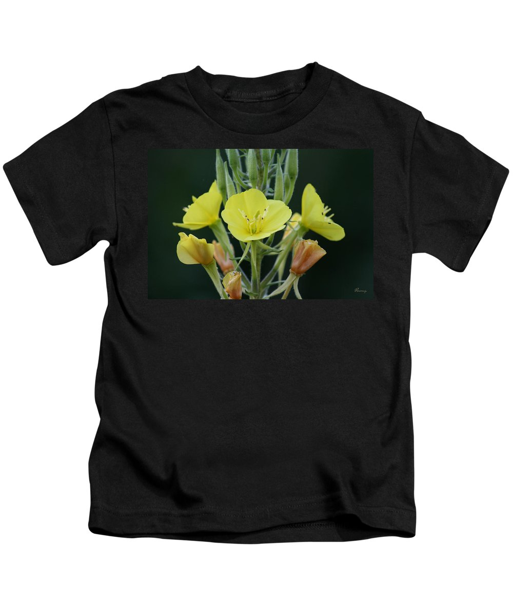 Flower Wild Yellow Green Orange Plants Garden Digital Kids T-Shirt featuring the photograph Wild Yellow by Andrea Lawrence