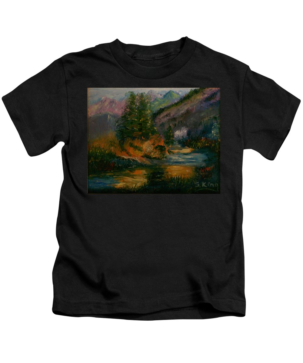 Landscape Kids T-Shirt featuring the painting Wilderness Stream by Stephen King