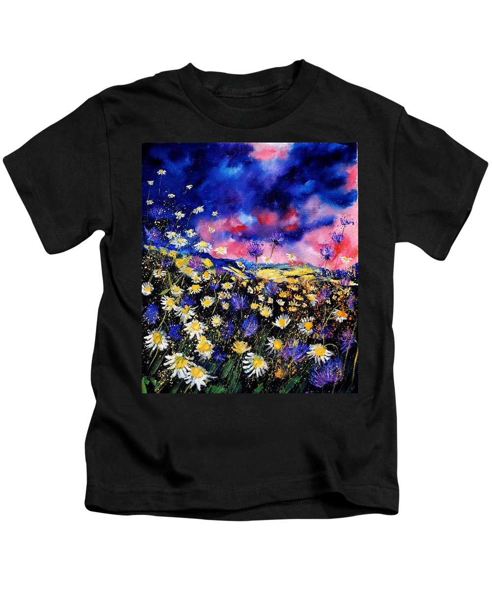 Flowers Kids T-Shirt featuring the painting Wildflowers 67 by Pol Ledent
