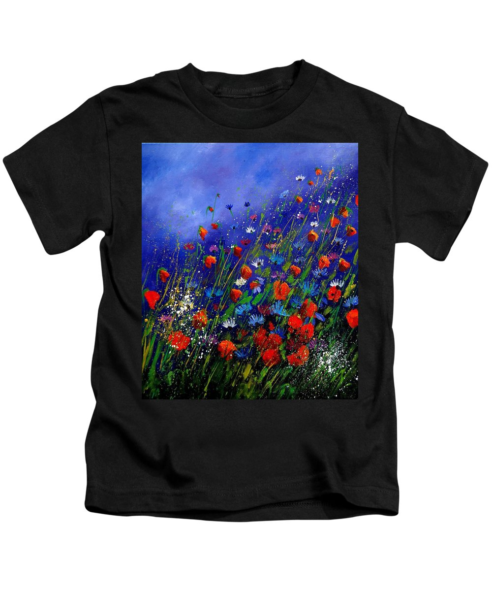 Poppies Kids T-Shirt featuring the painting Wildflowers 78 by Pol Ledent
