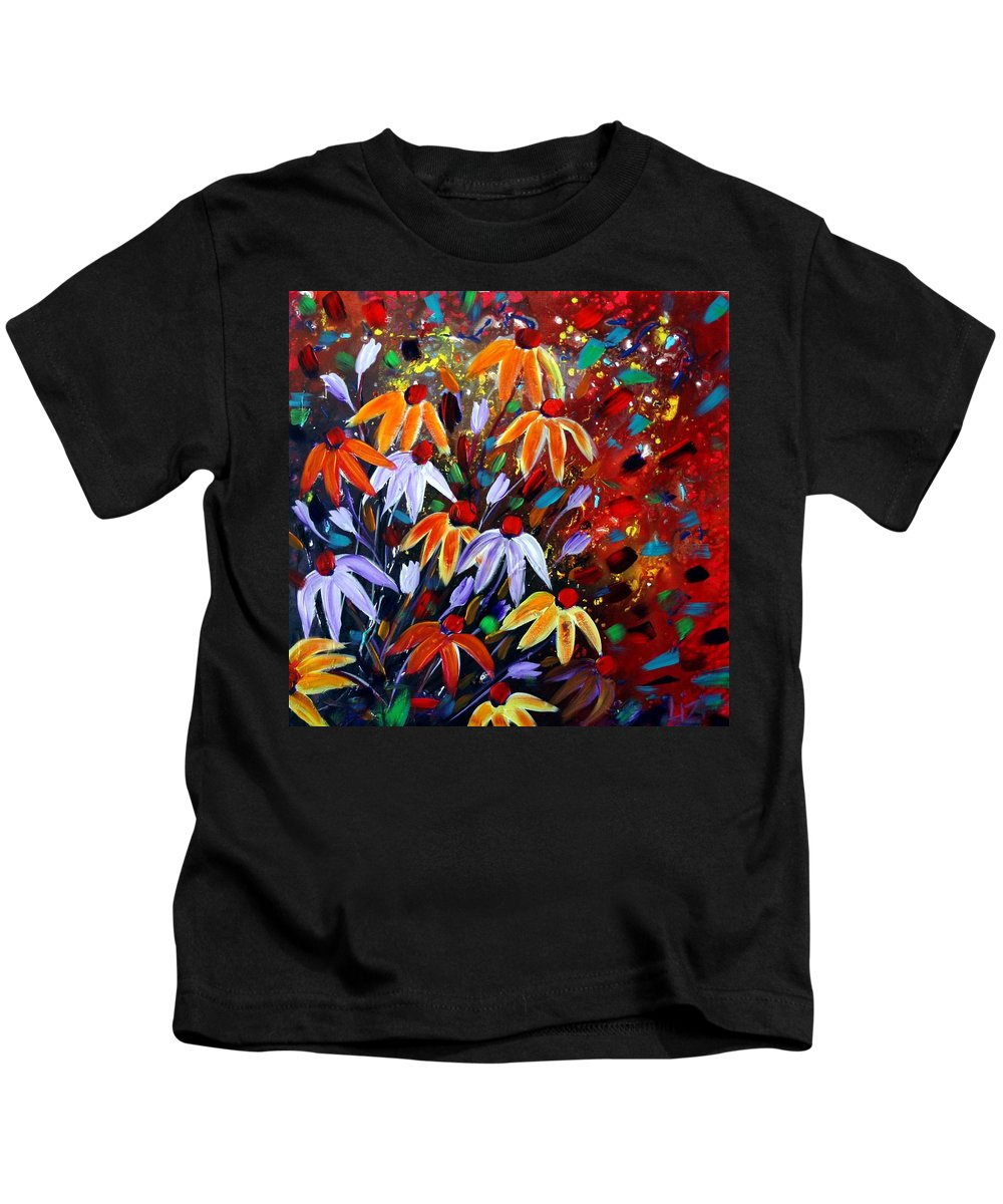 Flowers Kids T-Shirt featuring the painting Wildflowers At Sunset by Luiza Vizoli