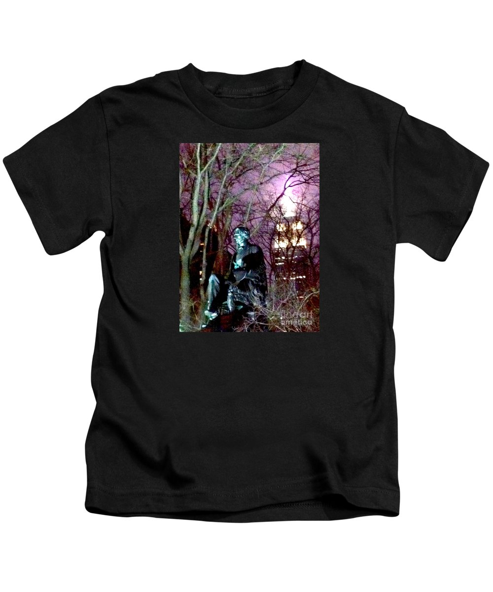 William Seward Kids T-Shirt featuring the photograph William Seward Statue And Empire State Bldg With Trees by Ken Lerner