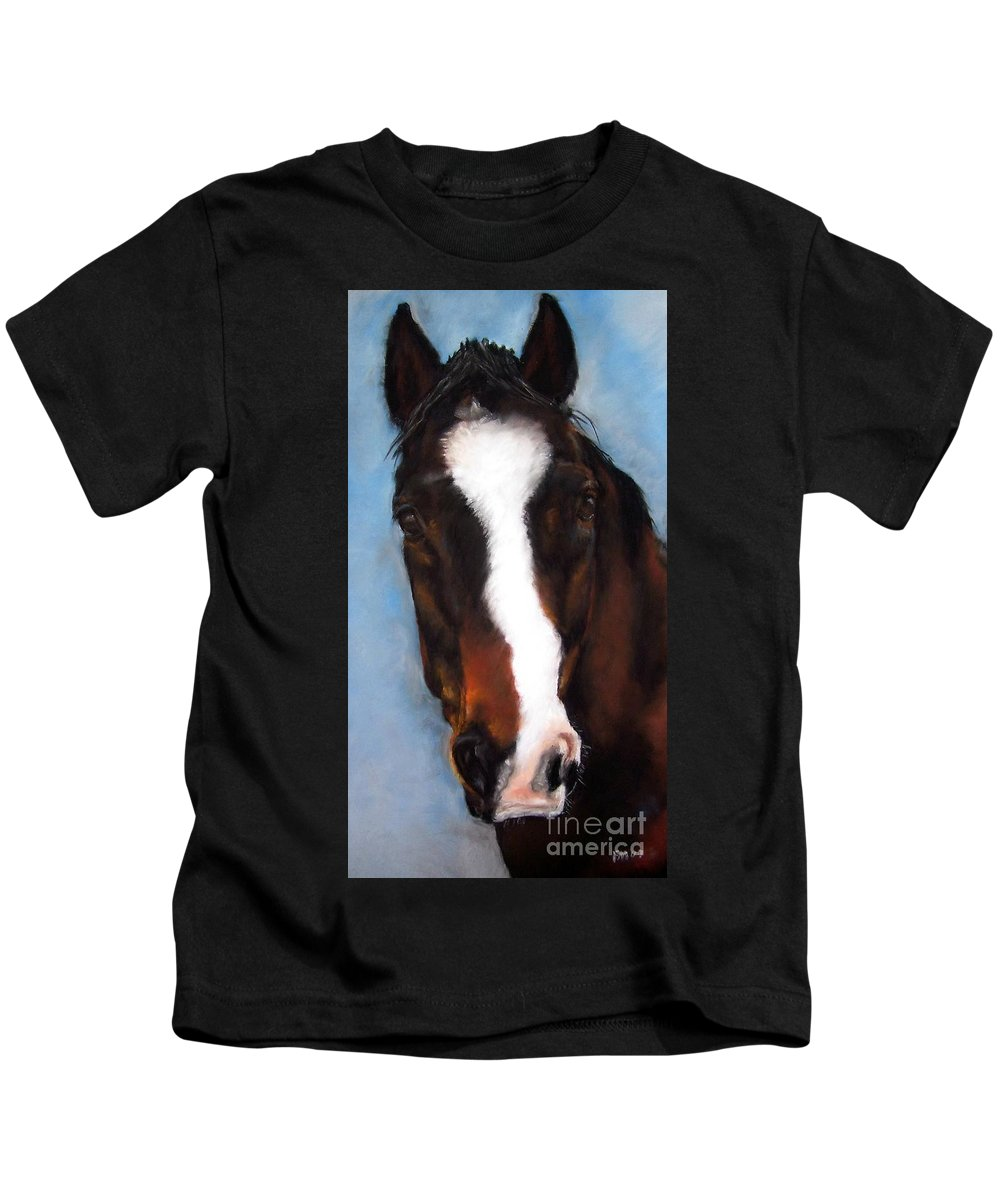 Horse Painting Kids T-Shirt featuring the painting Willie Duke by Frances Marino