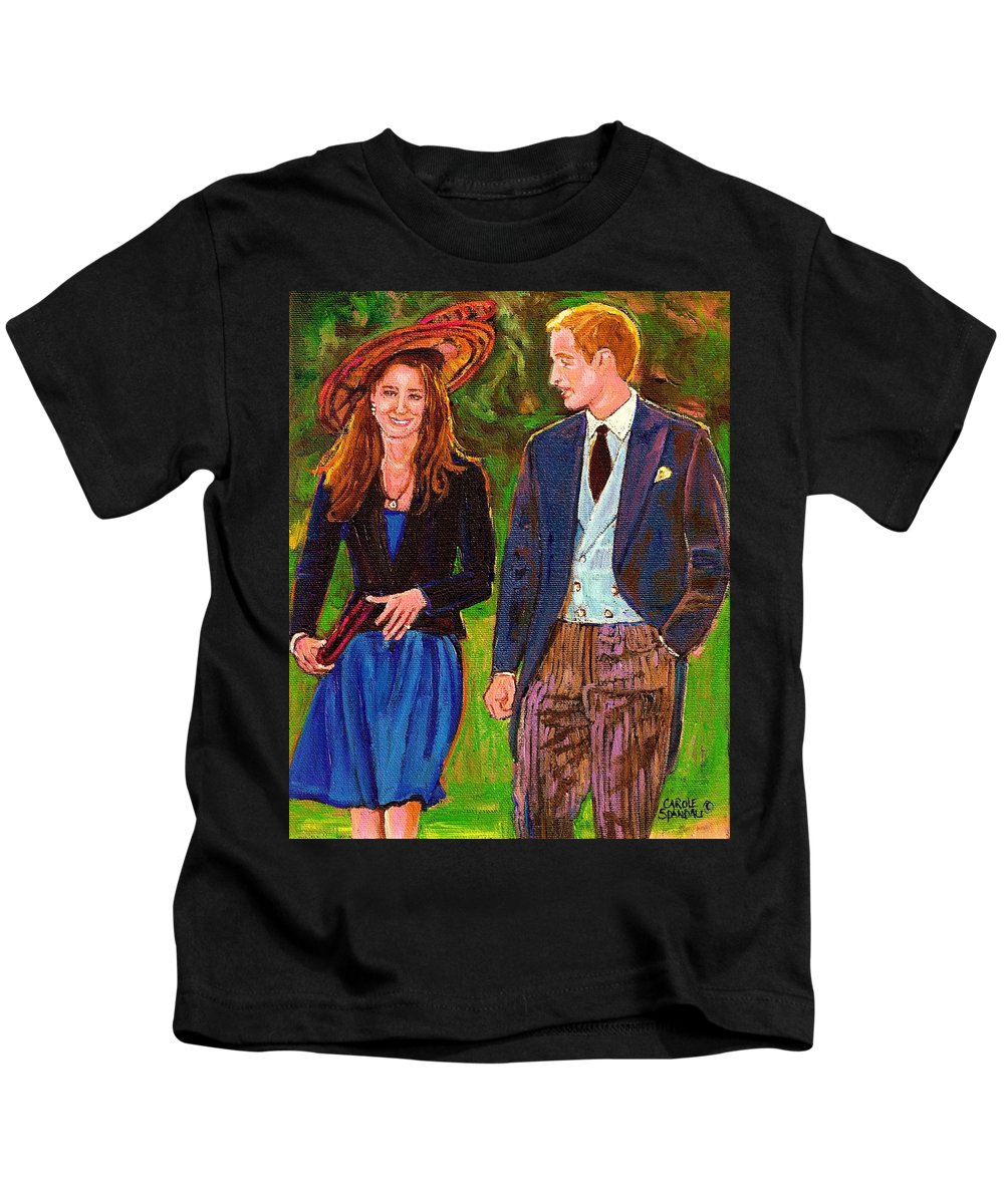 Wills And Kate Kids T-Shirt featuring the painting Wills And Kate The Royal Couple by Carole Spandau
