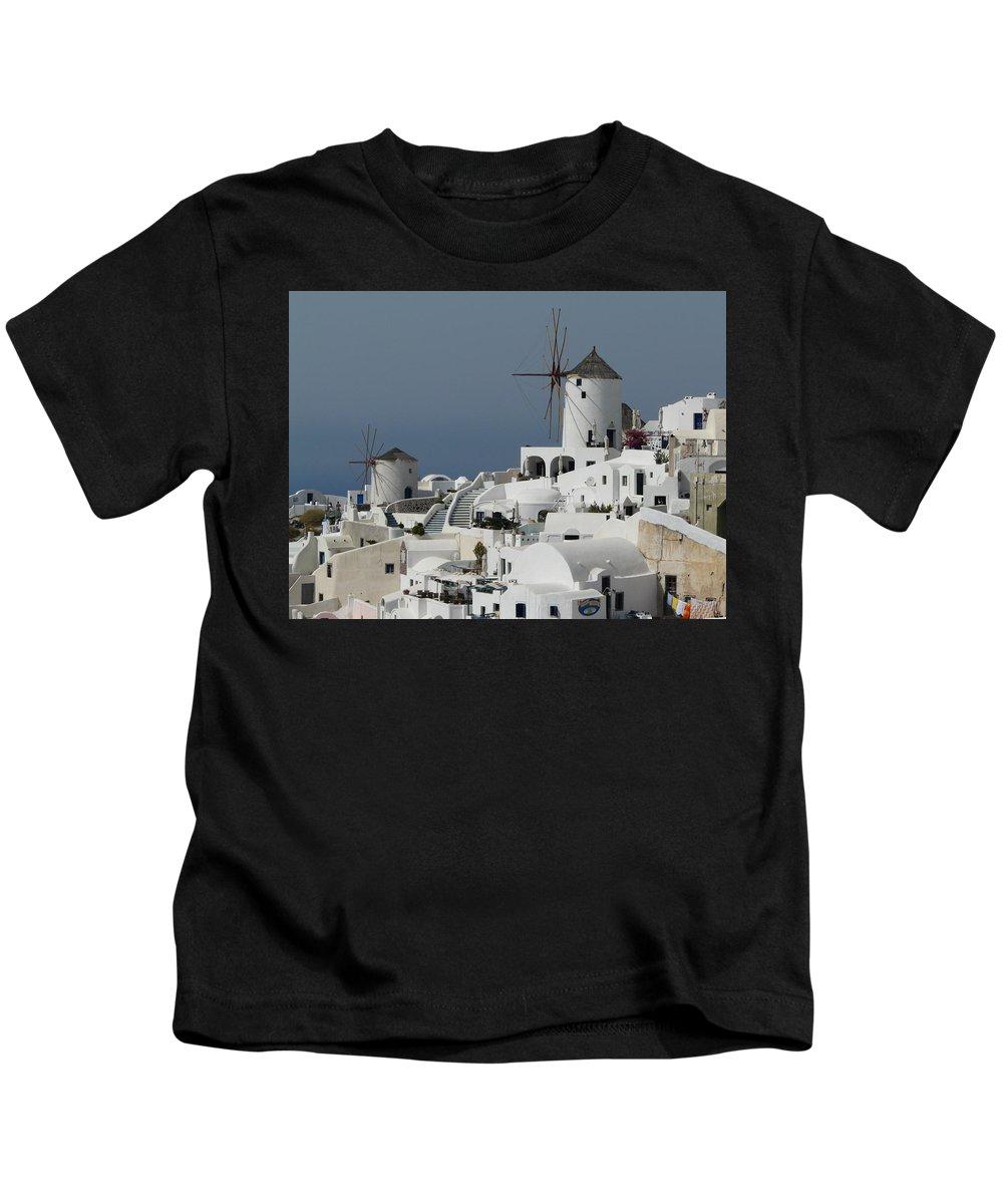Santorin Kids T-Shirt featuring the photograph Windmills Of Santorini by Valerie Ornstein