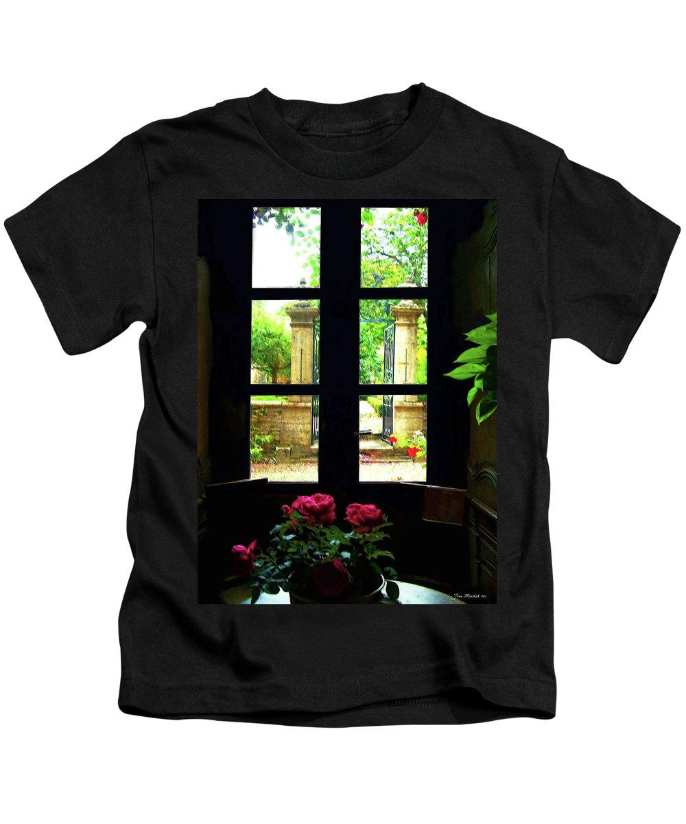 Botanical Kids T-Shirt featuring the digital art Window And Roses by Joan Minchak