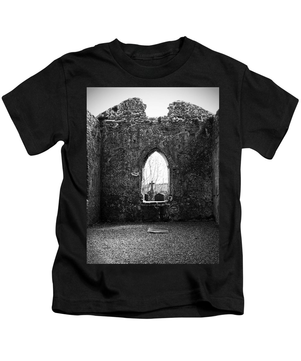 Ireland Kids T-Shirt featuring the photograph Window At Fuerty Church Roscommon Ireland by Teresa Mucha
