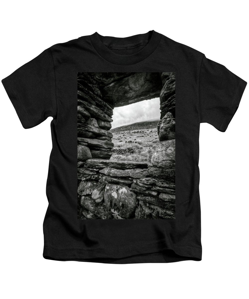 Tryfan Kids T-Shirt featuring the photograph Window To Tryfan by Dave Bowman