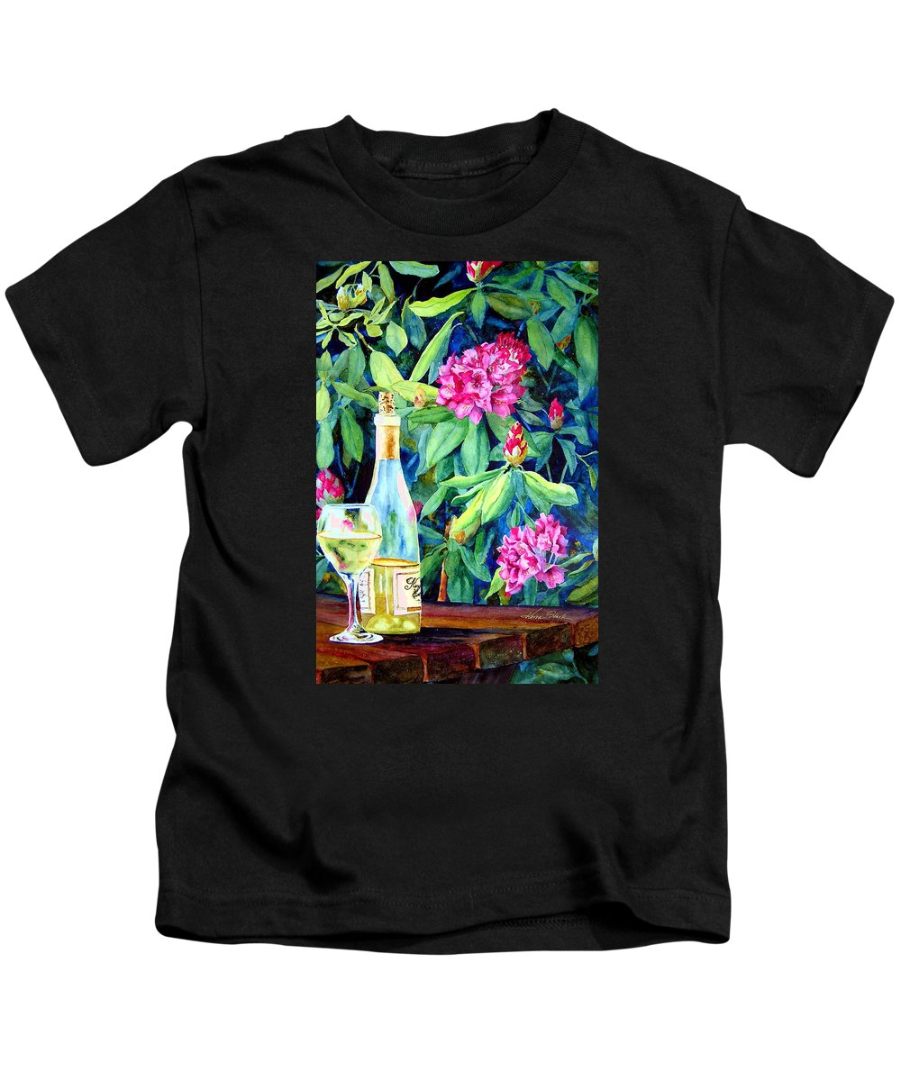 Rhododendron Kids T-Shirt featuring the painting Wine And Rhodies by Karen Stark